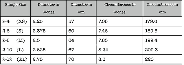 bangle size table