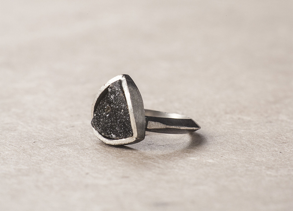 Black Faceted Druzy Ring
