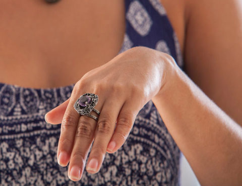purple coral reef ring silver amethyst black