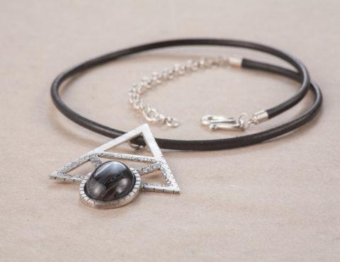 alkimia agathe pendant silver leather cord
