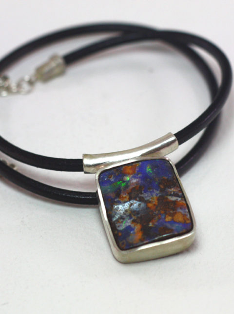 Trillion ethiopian opal ring mikela jewelry boulder opal pendant silver leather mozeypictures Choice Image