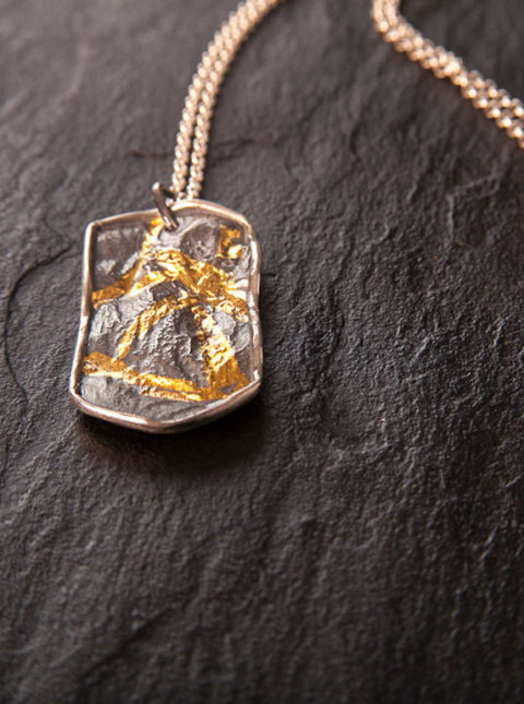 dog tag silver gold pendant